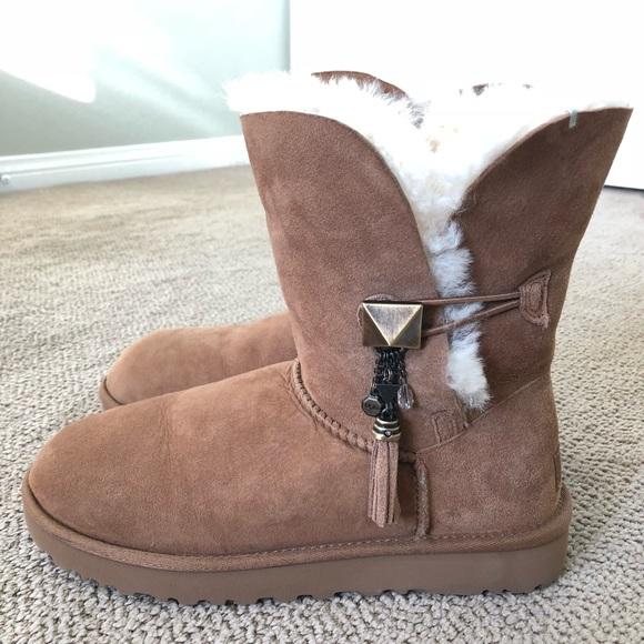 acc7ec9de18 UGG Lilou Bailey Button Charm Suede Cuff Boots